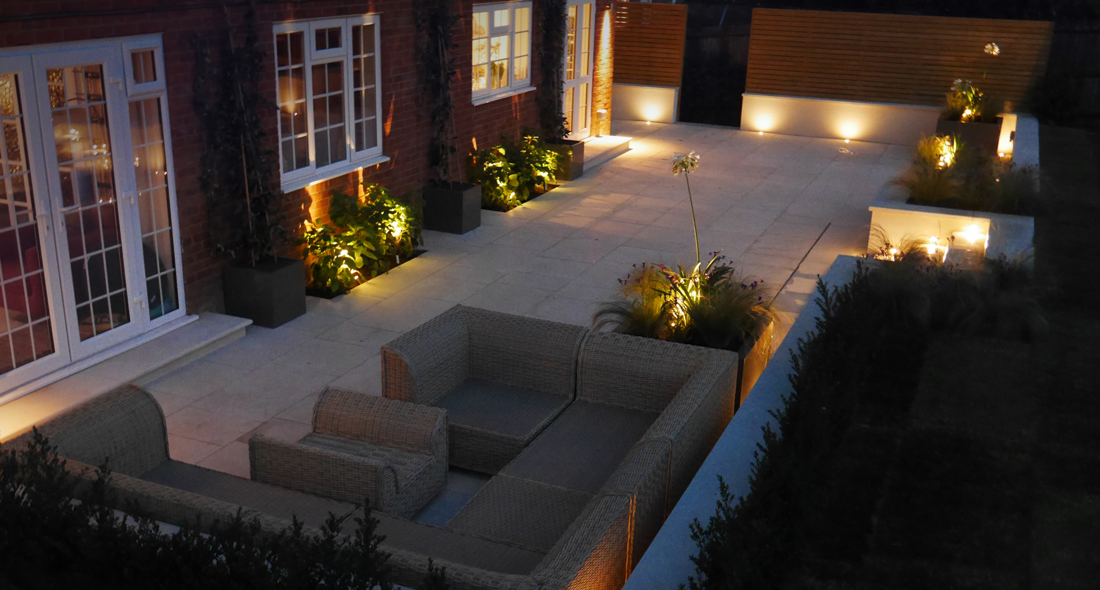 Slate Grey garden design lighting scheme on a newly finished project in Sevenoaks, Kent