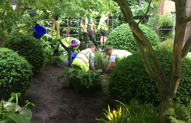 Planting up Chris Beardshaws Great Ormand Street Childrens Garden