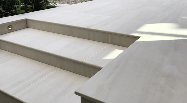 Slate Grey garden design new porcelain patio steps detail Tunbridge Wells