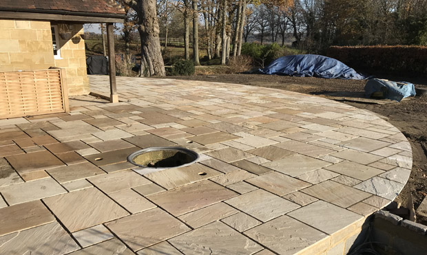 Slate Grey garden design site levelling for new patio, East Sussex