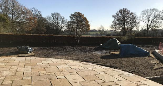 Slate Grey garden design site levelling garden area in East Sussex