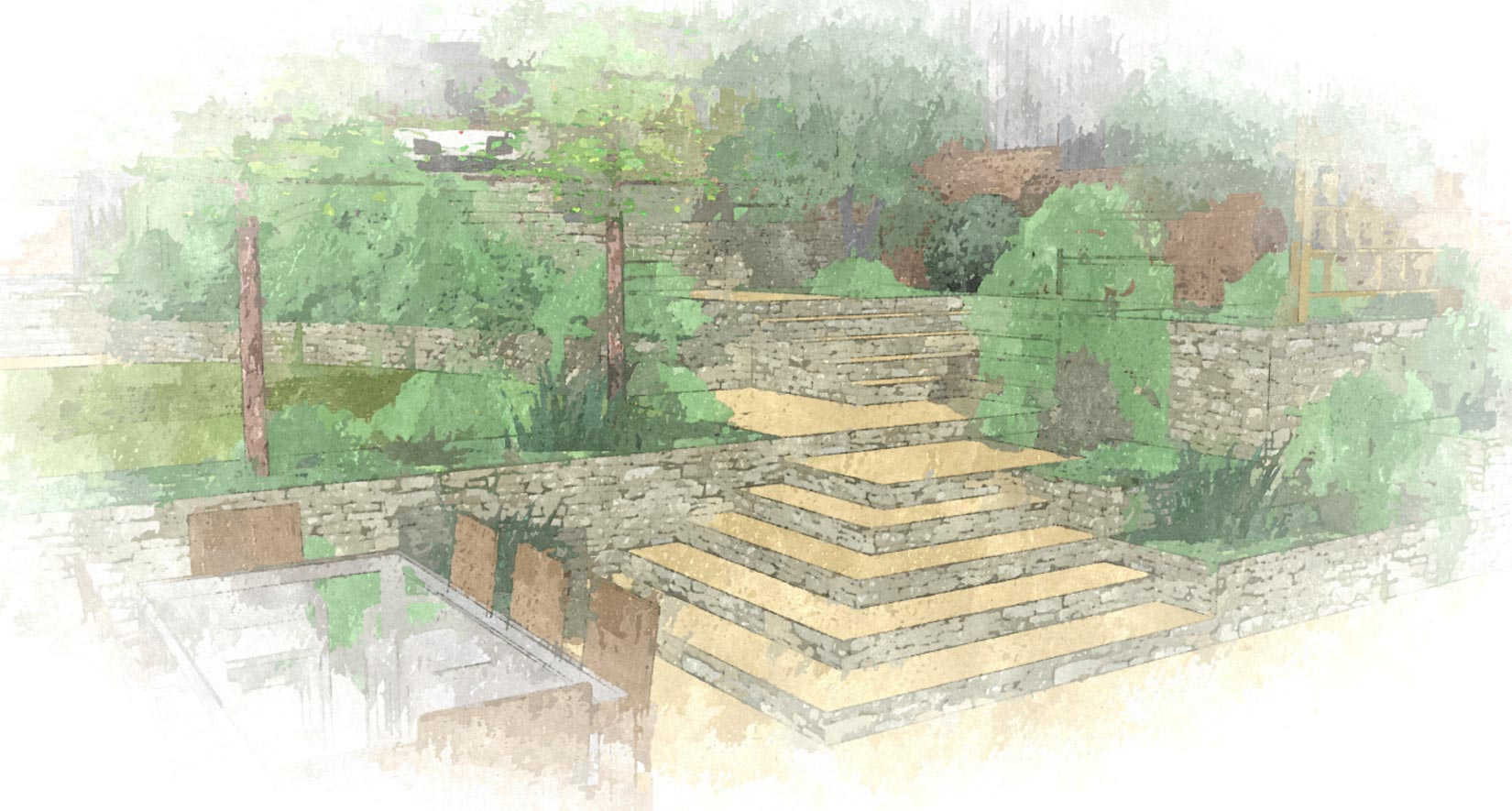 slate grey garden design plans are hand drawn and coloured with great care
